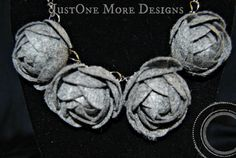 Grey Felt Flowers on Chain Necklace by JustOneMoreDesigns on Etsy
