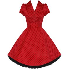 Hearts and Roses London Red Polka Dot 1950s Dress ($47) ❤ liked on Polyvore featuring dresses, red dress, rose dress, goth dresses, vintage day dress and polka dot dress