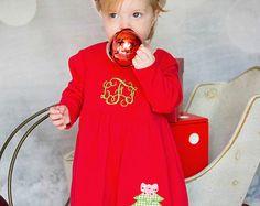 Christmas Dress, Monogrammed Christmas Tree Dress, Christmas Knit Dress, Appliqued Dress, Toddler Girls Dress, Monogrammed Dress, Baby Girl