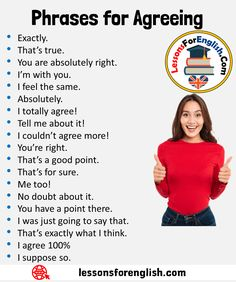 English Phrases for Agreeing Exactly. That's true. You are absolutely right. English Learning Spoken, Teaching English Grammar, English Language Learning, English Conversation Learning, Essay Writing Skills, English Writing Skills, Writing Words, English Vocabulary Words, English Phrases