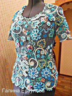 """Купить блуза """"Утренняя свежесть """" - вязаный топ, ирландское кружево, вязание на заказ"""