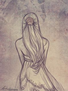 Simple, pretty, dress sketch illustration #girl / Bozzetto, illustrazione, disegno di un vestito semplice e carino #ragazza - Illust. by Charlie Bowater