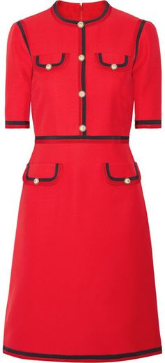 Gucci Grosgrain-trimmed Wool And Silk-blend Cady Mini Dress - Red