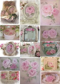 Romantic Rose Paintings, scrap book Cd, shabby note cards and more by Artist Jo-Anne Coletti Shabby Chic Crafts, Shabby Chic Pink, Shabby Chic Decor, Romantic Roses, Beautiful Roses, Pretty Roses, Decoupage Paper, Decoupage Vintage, Rose Art