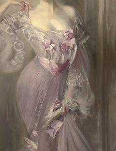 Portrait of Ena Wertheimer ~ Giovanni Boldini 1902 (detail) Giovanni Boldini, Italian Painters, Italian Artist, Mauve, Lilac, Pink, Belle Epoque, Illustration Art, Illustrations