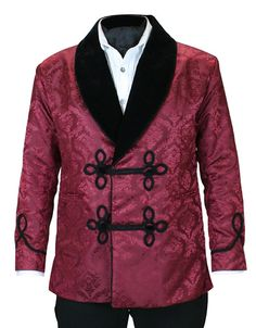 Vintage Smoking Jacket - Burgundy Brocade