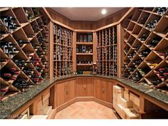 Custom wine cellar. Bay Colony Golf Estates | North Naples, Florida