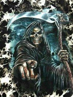 Grim Reaper knows who killed me. Death Reaper, Grim Reaper Art, Grim Reaper Tattoo, Don't Fear The Reaper, Dark Fantasy Art, Dark Art, Imagenes Wallpapers Hd, Art Harley Davidson, Rock Poster
