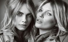 Download wallpapers Kate Moss, Cara Delevingne, portrait, beautiful women, British supermodel, monochrome