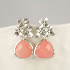 Pink Agate Cherry Blossom Earrings Wedding by anatoliantaledesign, $27.00