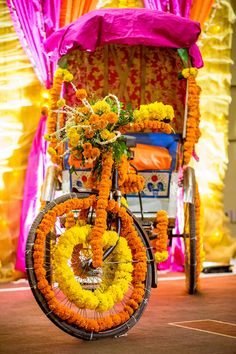 Mehendi Decor - Marigold Decor on a Rickshaw | WedMeGood  #wedmegood #indianbride #indianwedding #mehendi #mehandidecor #DIYdecor #rickshaw
