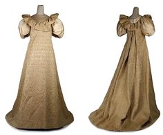 HISTORICAL GOLD & BEIZE PRINTED DRESSES.107