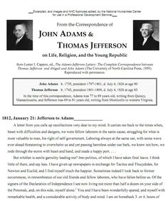 JOHN ADAMS &  THOMAS JEFFERSON on Life, Religion, and the Young Republic.