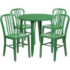 IHome Brimmes Round 30u0027u0027 Green Metal Table Set W/4 Vertical Slat Back