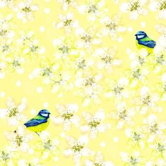 Jane Heyes - Blue birds Birthday Occasion Everyday yellow blossome vintage pattern.psd