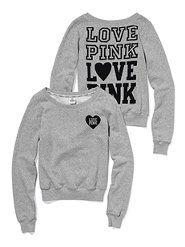 VS Pink Love Pink Signature Crew sweatshirt