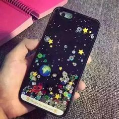 """Cartoon Starry Sky Space Ship Cover Liquid Case For iPhone SE 5 5S 6 6S 4.7"""" 6 6S Plus 5.5"""""""