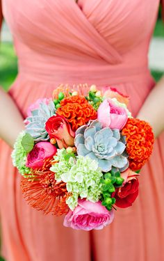 Bridesmaid flowers. Fun, modern. Cockscomb, succulents, pink, green and red
