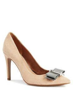 Lillie Embellished Pointed Pump in Natural and Grey  Price : $135.00 http://www.isaacmizrahi.com/Lillie-Embellished-Pointed-Pump-Natural/dp/B00KMCGFCI
