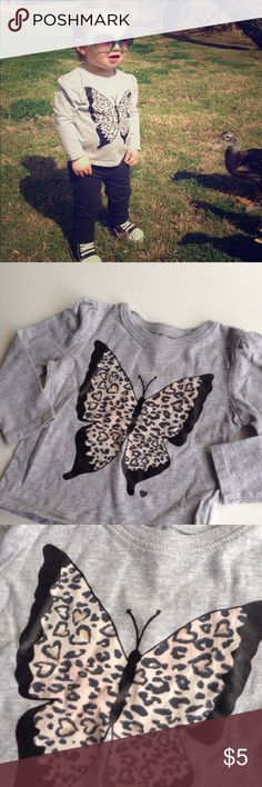 Old Navy tee cute long sleeve gray butterfly tee from Old Navy Old Navy Shirts & Tops