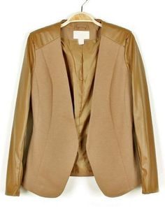 Brown Contrast Leather Long Sleeve Blazer  on shechic.com, Free shipping to worldwide