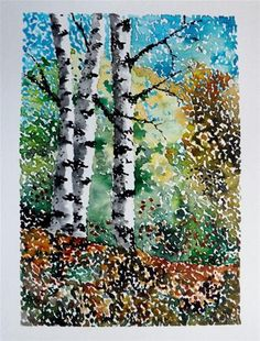 """Original Watercolor Painting- A Stippled Landscape"" - Original Fine Art for Sale - © James Lagasse"