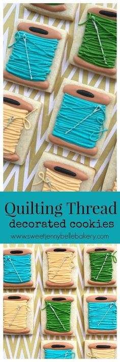 quilting thread decorated sugar cookies - My CMS Super Cookies, Fancy Cookies, Iced Cookies, Cut Out Cookies, Easter Cookies, Cake Cookies, Cupcake Cakes, Christmas Cookies, Cookie Frosting