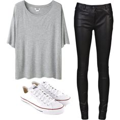 Leather pants with a plain gray tee & Converse... Casual