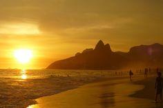 イパネマのビーチ, リオ デ ジャネイロ, Sugarload山, ブラジル, 日没, 海景, 南アメリカ
