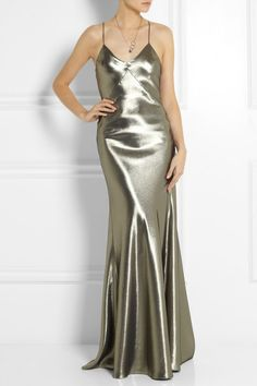 Kate Moss For Topshop Fluted Silk-Blend Lamé Maxi Dress in Silver