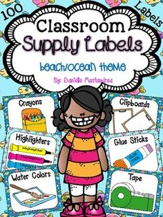 Classroom Supply Labels {Fish / Ocean Theme}