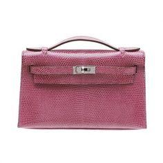 Hermes Kelly Pochette Fuschia Pink Lizard Skin Silver Hardware