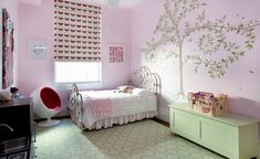 This beautiful bedroom is fit for a princess, with an elegant white and pink bed, a gorgeous tree painted on the wall and a castle playset. Small Room Bedroom, White Bedroom, Dream Bedroom, Bedroom Wall, Girls Bedroom, Bedroom Ideas, Room Girls, Child's Room, Bedroom Designs