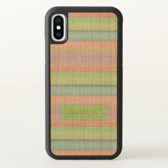 Custom Coral Pink Lime Green Turquoise Stripes iPhone X Case - #chic gifts diy elegant gift ideas personalize