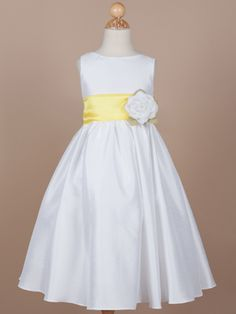 Flower Girl Dress with Yellow Organza Sash Products This is a fanciful shirred A-Line dress made of a luxurious poly/silk blend material. Yellow Flower Girl Dresses, Flower Girl Tutu, Little Girl Dresses, Girls Dresses, Flower Girls, Bridesmaid Flowers, Bridesmaid Dresses, Wedding Dresses, Tea Length Skirt