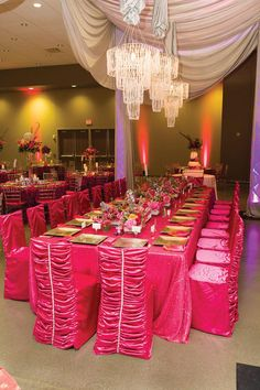Girly pink wedding decor by Lasting Impressions. Photo by Chris Humphrey Photographer. #wedding #decor #pink #sparkle #chandelier