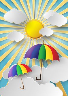 Paper stickers effect with sunburst landscape vectorPaper effect natural background vector design 01 Diy And Crafts, Crafts For Kids, Arts And Crafts, Paper Crafts, Diy Paper, Colorful Umbrellas, School Decorations, Sticker Paper, Graphic Design Art