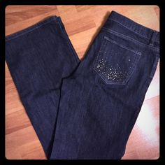 New York & Company Limited Edition Jeans Very pretty dark blue jean with decorated pockets. Wide leg. Great condition, no defects. New York & Company Jeans Flare & Wide Leg