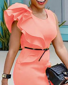 Shop Stylish Ruffled Patchwork Sleeveless Bodycon Dress right now, get great deals at divaslily Short Dresses, Formal Dresses, Pattern Fashion, Sleeve Styles, Amazing Women, Work Wear, Plus Size Fashion, Wrap Dress, Bodycon Dress