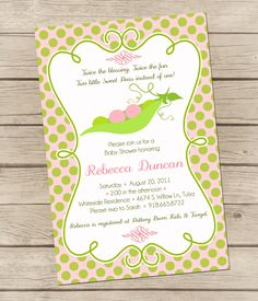 Printable Twins Baby Shower Invitations | PRINTABLE - Twin Peas in a Pod - Baby Shower Invitation - Digital