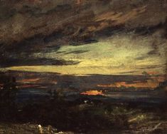 "John Constable, ""Sunset study of Hampstead, looking towards Harrow"""