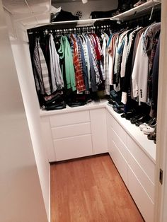 Dress Room Ikea Walk In Ideas Source by room ideas Small Walk In Wardrobe, Narrow Closet, Walk In Closet Design, Bedroom Closet Design, Master Bedroom Closet, Small Closets, Built In Wardrobe, Closet Designs, Small Walk In Closet Ideas