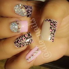 leopard cheetah pink rhinestones sparkle glitter by AllyKitKat Sexy Nails, Love Nails, Trendy Nails, Rhinestone Nails, Bling Nails, Fabulous Nails, Gorgeous Nails, Cheetah Nails, Super Cute Nails