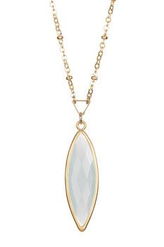 Rebecca Accessories 14K Yellow Gold Filled Sterling Silver Marquise Gem Layer Necklace