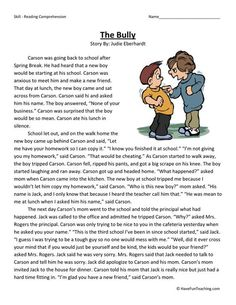 This Reading Comprehension Worksheet - The Bully is for teaching reading comprehension. Use this reading comprehension story to teach reading comprehension.