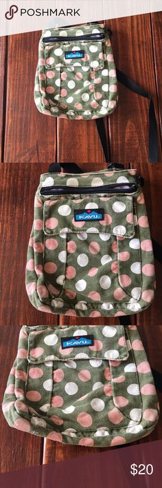 Kavu cross body bag, pink and green Good condition Kavu bag. Long straps, the bag hangs down to about your waste/hip level. Incredibly cute and versatile! It does have minor wash wear and a few spots on the bottom that are worn. It's not too bad, but I want to enclose everything! You can see everything in the pictures. If you have any questions don't hesitate to ask! Width- 10 inches. Length- 8 inches. Kavu Bags Crossbody Bags