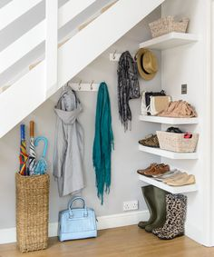 Staircase storage, under stairs pantry, space under stairs, living room und Under Stairs Drawers, Closet Under Stairs, Space Under Stairs, Under Stairs Cupboard, Basement Stairs, House Stairs, Office Under Stairs, Ikea Under Stairs, Basement Ideas