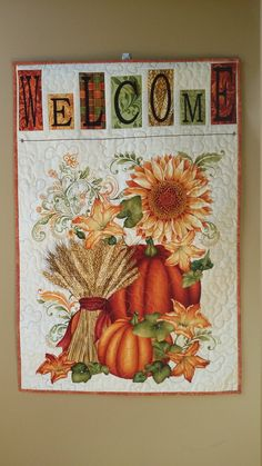 Autumn Wallhanging, Handmade Quilted Fall Door Banner,  Pumpkins and Flowers…