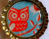 CLEARANCE-Retro Owl bottle cap magnet