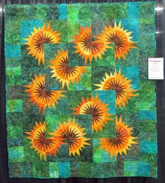 My Place Ribbon at the AQS Show and Landscape/Animal Quilts from Albuquerque Paper Pieced Quilt Patterns, Batik Quilts, Modern Quilting Designs, Quilt Designs, Storm At Sea Quilt, Christmas Pickle, Sunflower Quilts, New York Beauty, Animal Quilts